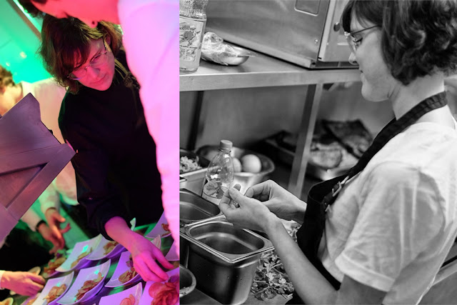 Foodblogerin Janina als Köchin bei der Küchenparty im Romantik Hotel Spielweg im Schwarzwald.