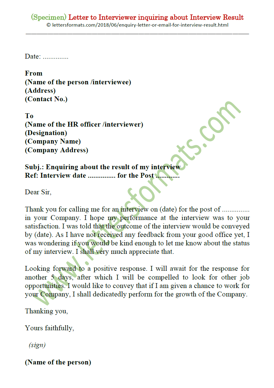 How to Write a Formal Letter or Email Asking for Interview Result