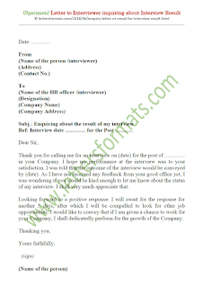 sample letter for inquiring about interview result