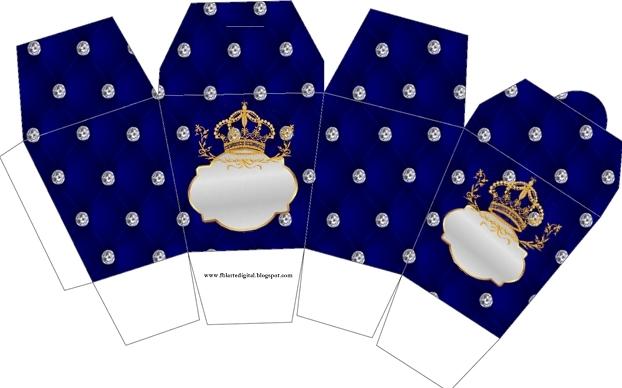 """Caja tipo """"de comida china""""de Corona Dorada en Azul y Brillantes."""