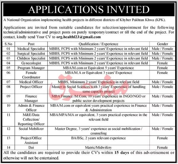 National Organization Medical Jobs | Peshawar KPK | 2021