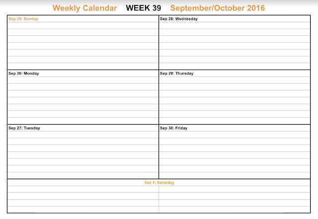 September 2016 Weekly Calendar, September 2016 Weekly Printable Calendar, September 2016 Weekly Calendar Printable, September 2016 Weekly Calendar Template