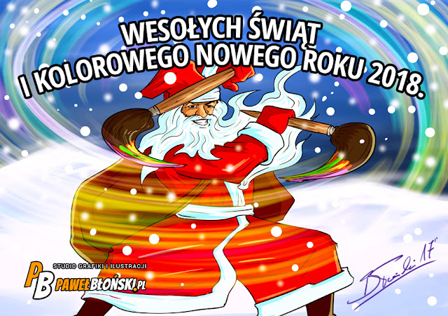 kartka świąteczna w stylu komiksowym z mikołajem, który walczy pędzlami