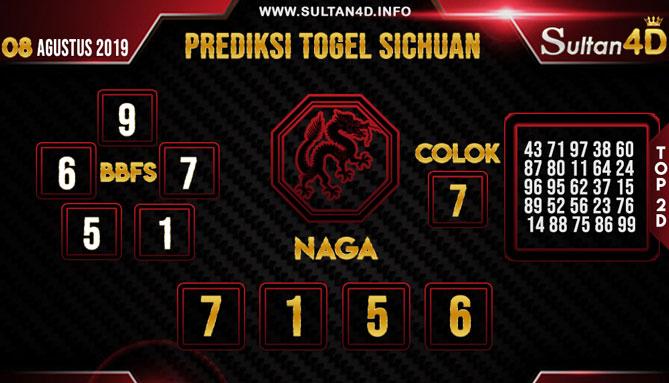 PREDIKSI TOGEL SICHUAN SULTAN4D 08 AGUSTUS 2019