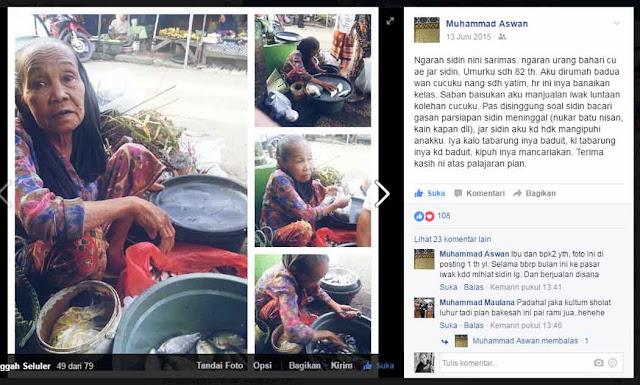 LUAR BIASA..! Nenek PKL Pedagang Ikan di Pasar Banjarbaru ini Mampu Menginspirasi Pejabat Pemkot