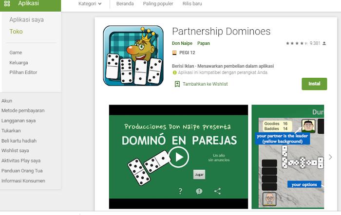 Partnership Dominoes, Game Domino yang Bisa Dimainkan dengan Sistem Partner.