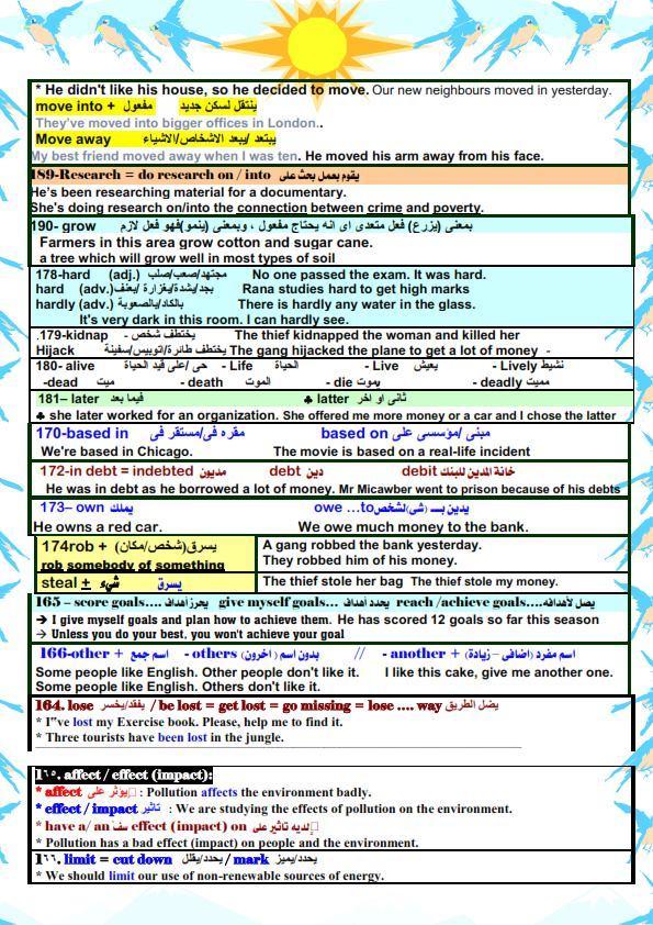 قواعد اللغة الانجليزية والملاحظات اللغوية للصف الثالث الثانوي مستر/ أحمد فرحات 17