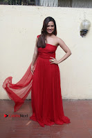 Actress Sana Khan Latest Pos in Georgius Spicy Red Long Dress at the Interview  0011.jpg