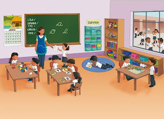 ilustración salón de clases