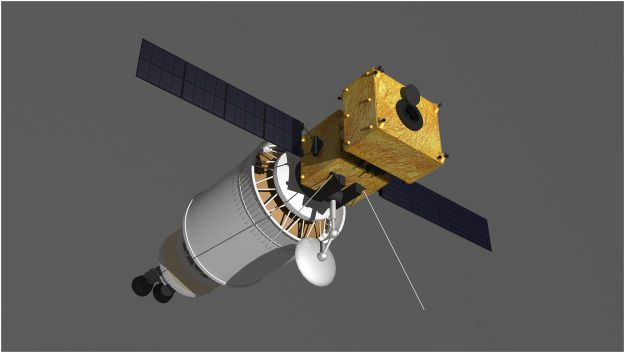 Ilustração artística do impactador Assembled Kinetic Impactor que pode ser acoplado ao estágio superior do foguete chinês Long March 5