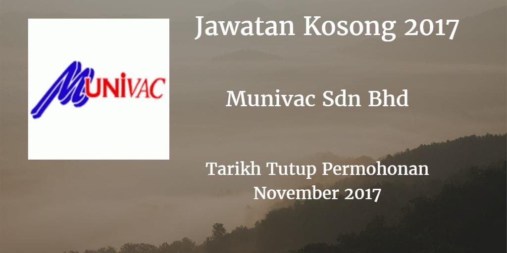 Jawatan Kosong Munivac Sdn Bhd November 2017