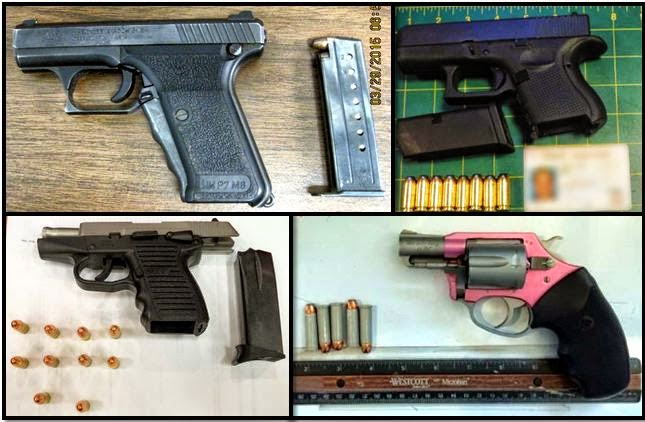 Clockwise from top left, firearms discovered at:SAN, BUF, LAS, and ATL