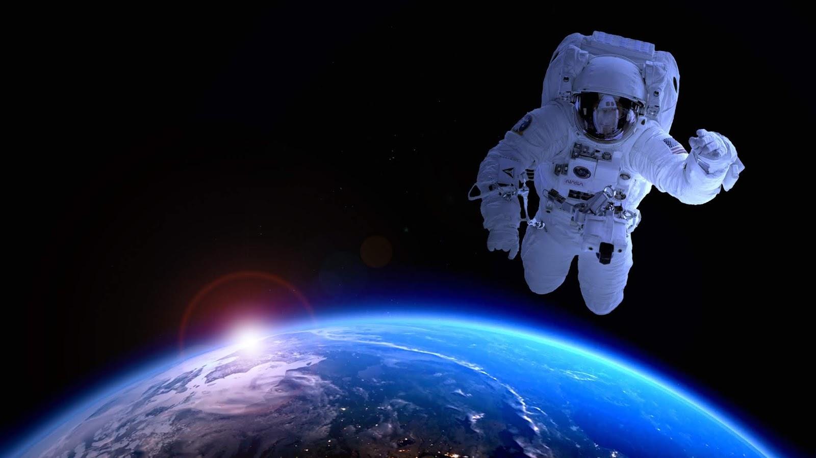 Astronaut, Earth, Dark, Sunrise, Blue, HD, Space
