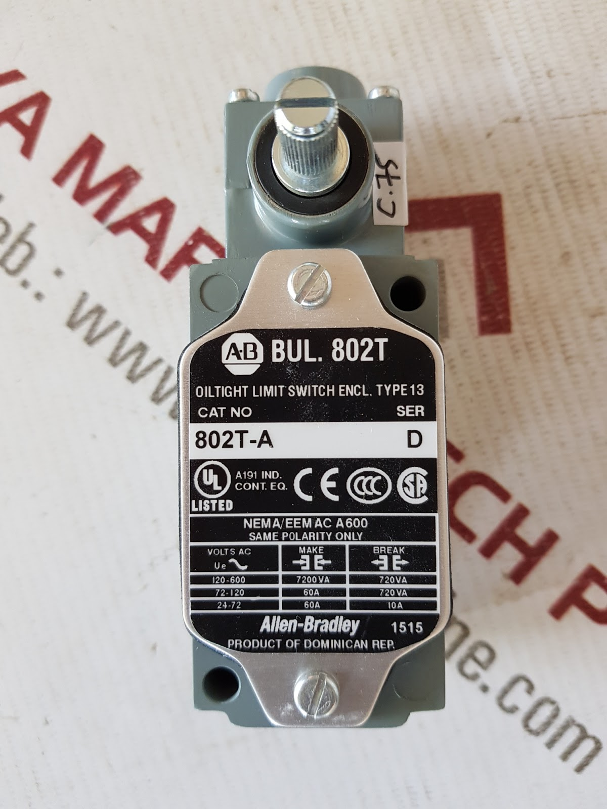 a b bul 802t limit switch with operator and roller arm type 13 802t a nema eem ac a 600 a191 a173a 1515 acct 7254000 condition new 1 pcs [ 1200 x 1600 Pixel ]