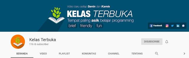 Channel Youtube untuk Belajar Bahasa Pemrograman, kelas terbuka,
