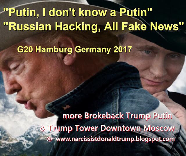large: funny trump putin brokeback mt. bromance g20 hamburg germany meme: don't know putin, fake news, no russian hackers bromance