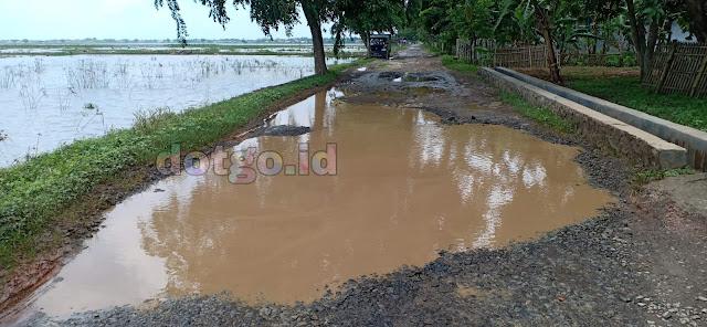 Jalan di Desa Langensarimdan Tanjungtiga Blanakan Subang Rusak Cukup Parah