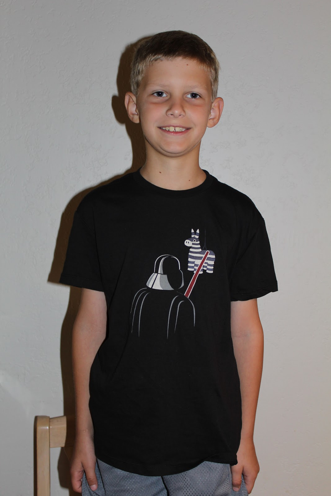 4b0cfdd7 So, I was excited to learn that Headline Shirts now carries kids' tees! My  sons picked out this adorable Vader Pinata shirt for review: