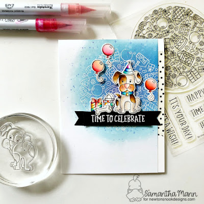 Time to Celebrate Card by Samantha Mann for Newton's Nook Designs, Birthday, Cards, Birthday Card, Heat Embossing, Distress Inks, Puppy #newtonsnook #cards #birthday #birthdaycard #distressinks #puppy
