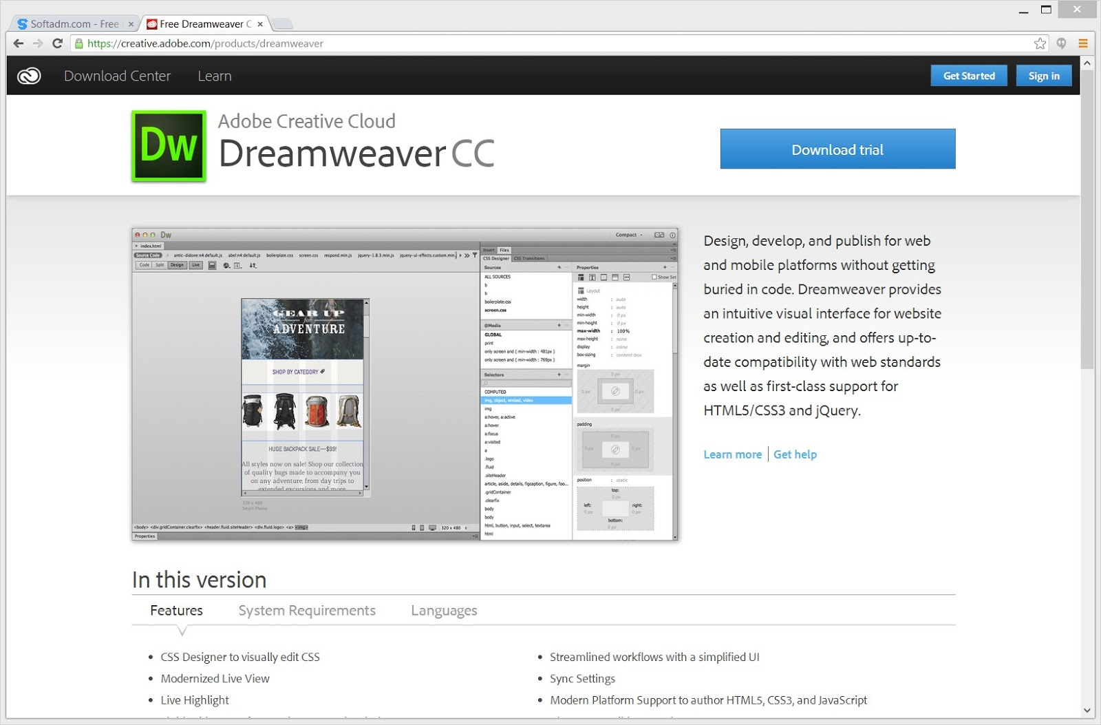 Download Adobe Dreamweaver CC for Mac OS X full version for
