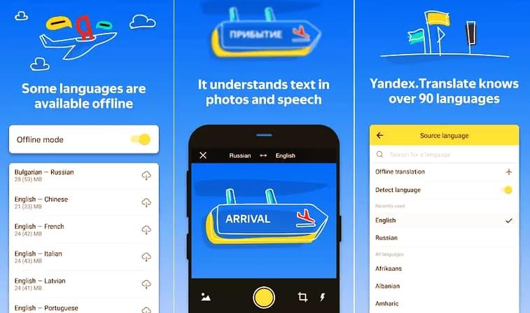 برنامج ترجمة بالكاميرا للاندرويد بدون نت Yandex Translate