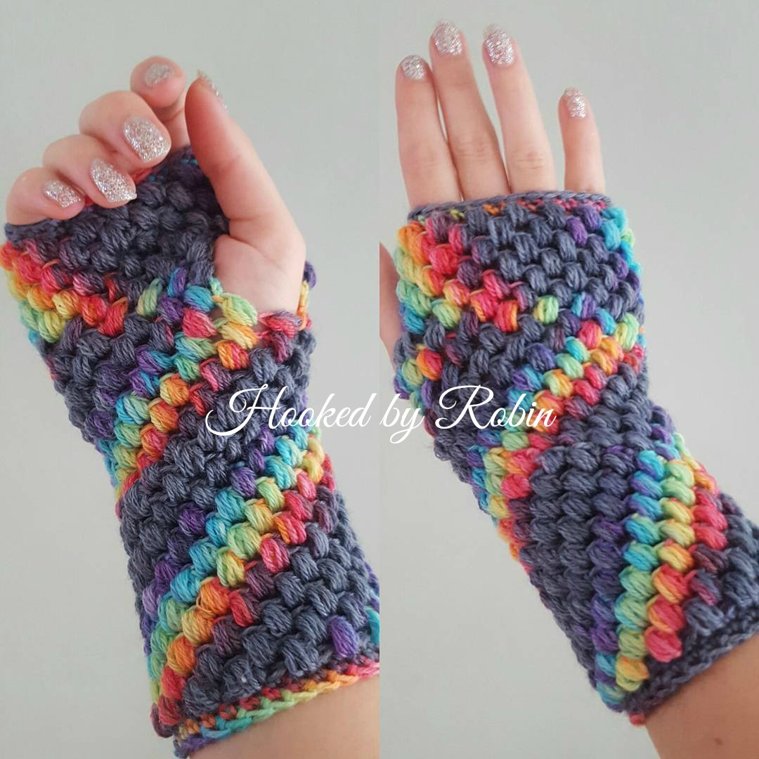 Puff Stitch Fingerless Gloves - free crochet pattern ~ Hooked by Robin