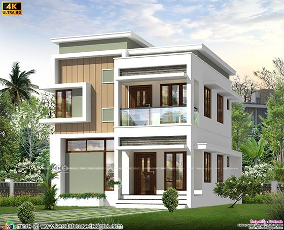 Modern flat roof style house front design