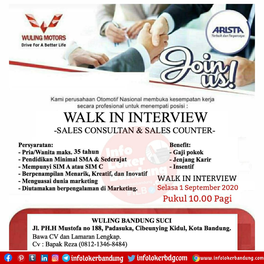 Walk In Interview Wuling Motors Bandung Suci Bandung 1 September 2020