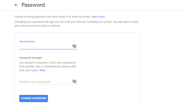 How to change Gmail password in mobile
