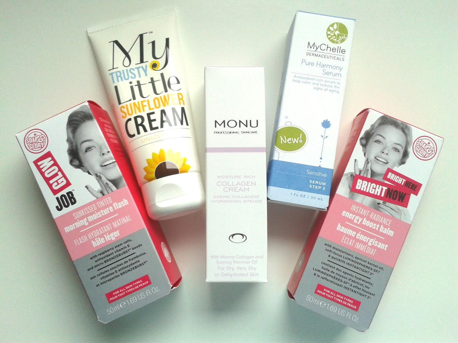 Soap & Glory Glow Job Bright Here Bright Now Monu Collagen Cream My Trusty Little Sunflower Cream Mychelle Pure Harmony Serum Skincare Review Recent Discoveries