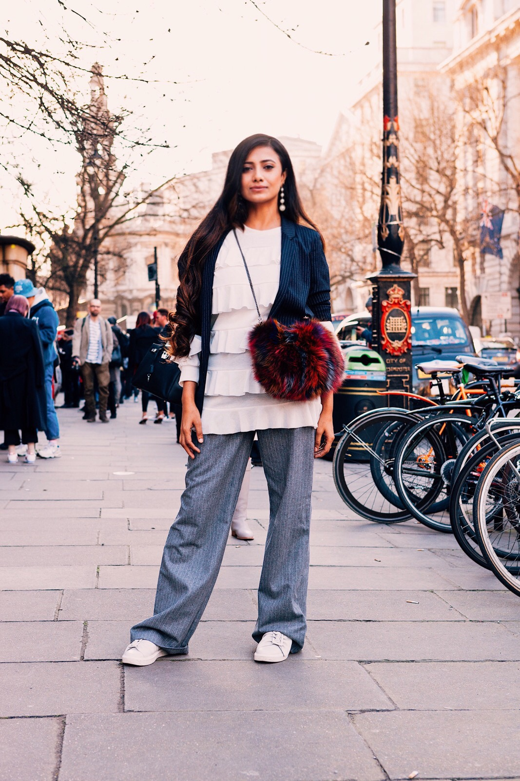 parisian style,lfw, london fashion week, london fashion week street style, lfw aw17, lfw blogger outfit, london fashion week blogger outfit, london fashion week aw17 blogger, top lfw street style, lfwxltk, vva, vva review, fur bag, hand warmer bag, relaxed street style, top lfw look, london street style, fashion week fw17, 2017 london fashion week, lfw aw17 day 1, lfw aw17 street style, lfw aw17 top blogger outfit, london fashion week aw17 day 1, uk blog, top indian blog, scandinavian fashion, style fashion week, what to wear to fashion week, style ruffles, style wide leg pants, casual blazer, weekend outfit, european style