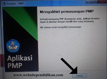 Mengakhiri pemasangan aplikasi PMP versi 1.2