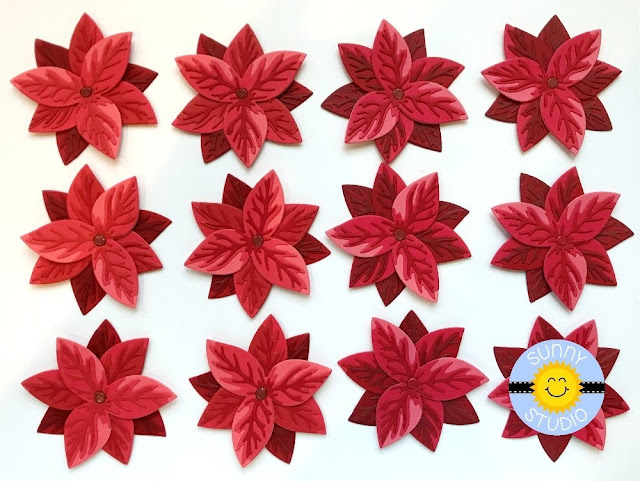 Sunny Studio Stamps Blog: Examples of Layered Flowers using Pristine Poinsettia Metal Cutting Dies)