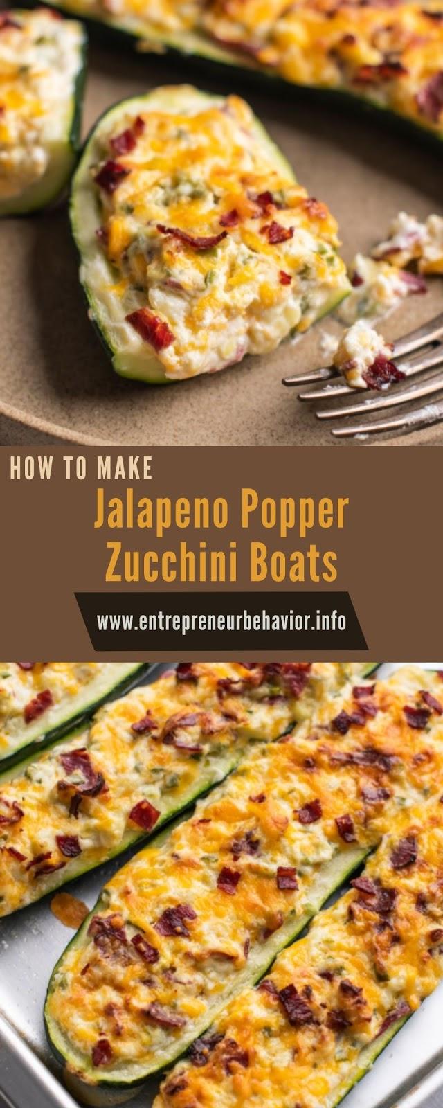 Jalapeno Popper Zucchini Boats