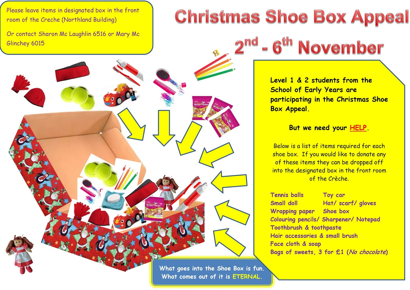 Christmas Shoe Box Appeal.North West Regional College Christmas Shoe Box Appeal