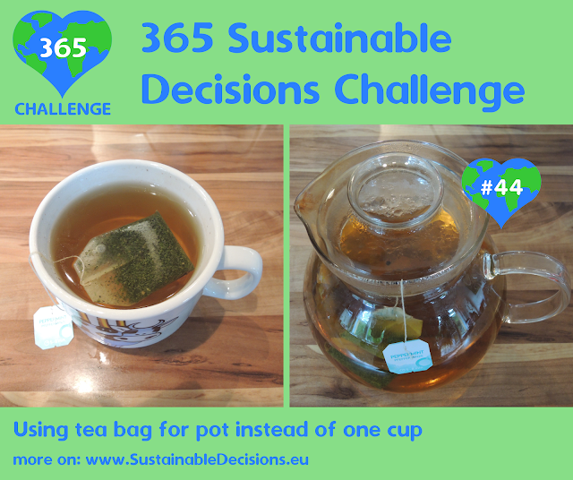 Using tea bag for pot instead of one cup reducing waste saving energy