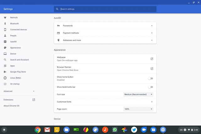 chromebook settings and new layout