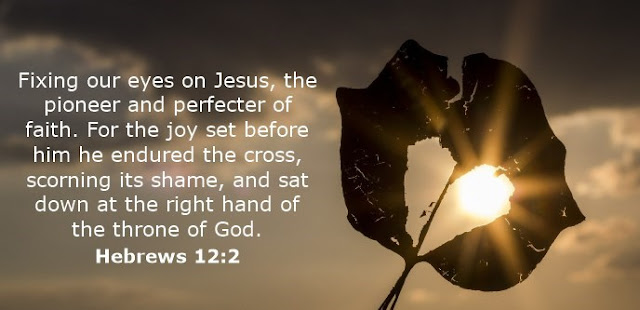 Let us fix our eyes on Jesus, the author and perfecter of our faith, who for the joy set before him endured the cross, scorning its shame, and sat down at the right hand of the throne of God.