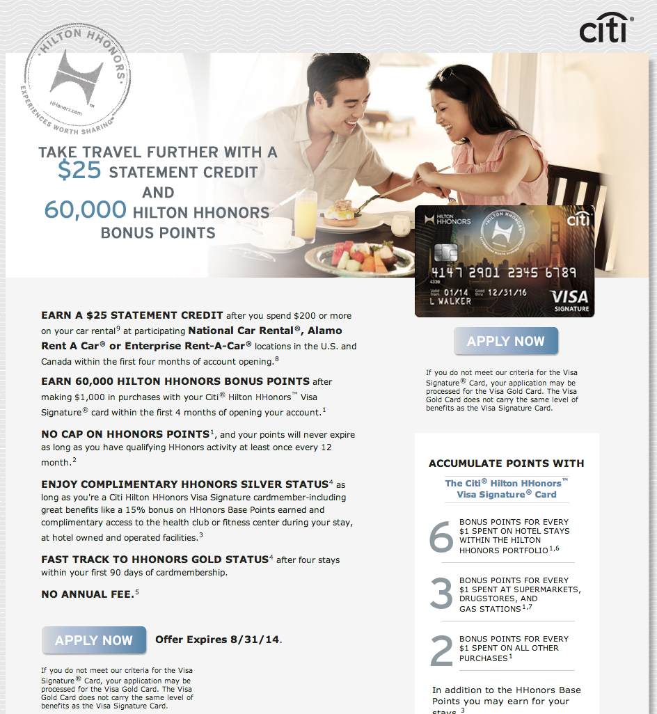 Citi Hilton Hhonors Visa Promotion