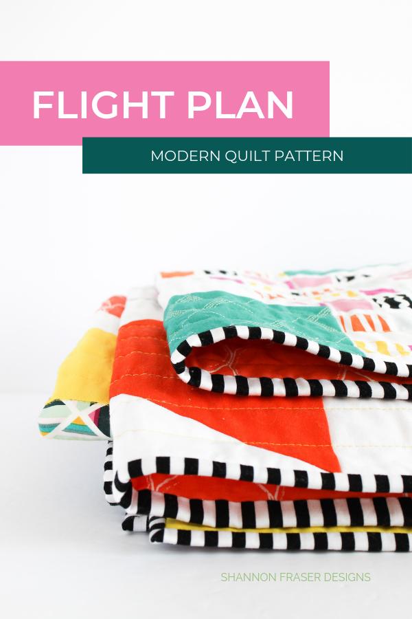 Geometrical Flight Plan Quilt | Modern Quilt Pattern | Shannon Fraser Designs #trianglequilt #modernquiltpattern