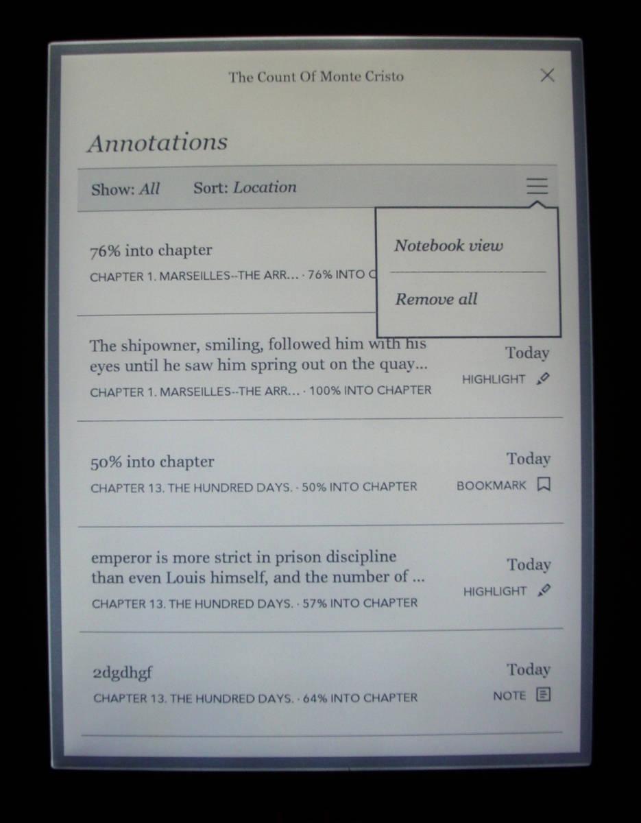Kobo Glo - lista zakładek, zaznaczeń i adnotacji