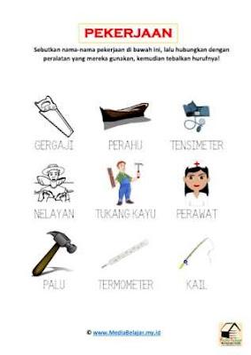 Download lembar kerja Tema Pekerjaan: Menghubungkan Jenis Pekerjaan dan Peralatan yang Sesuai Bagian 1