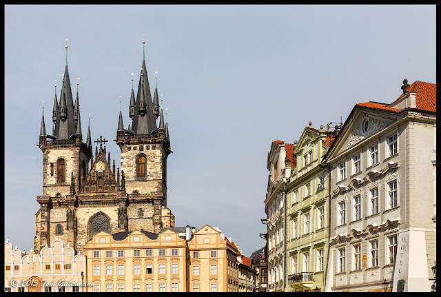 The steeples of The Church of Our Lady Before Týn in Prague's Old Town Square.