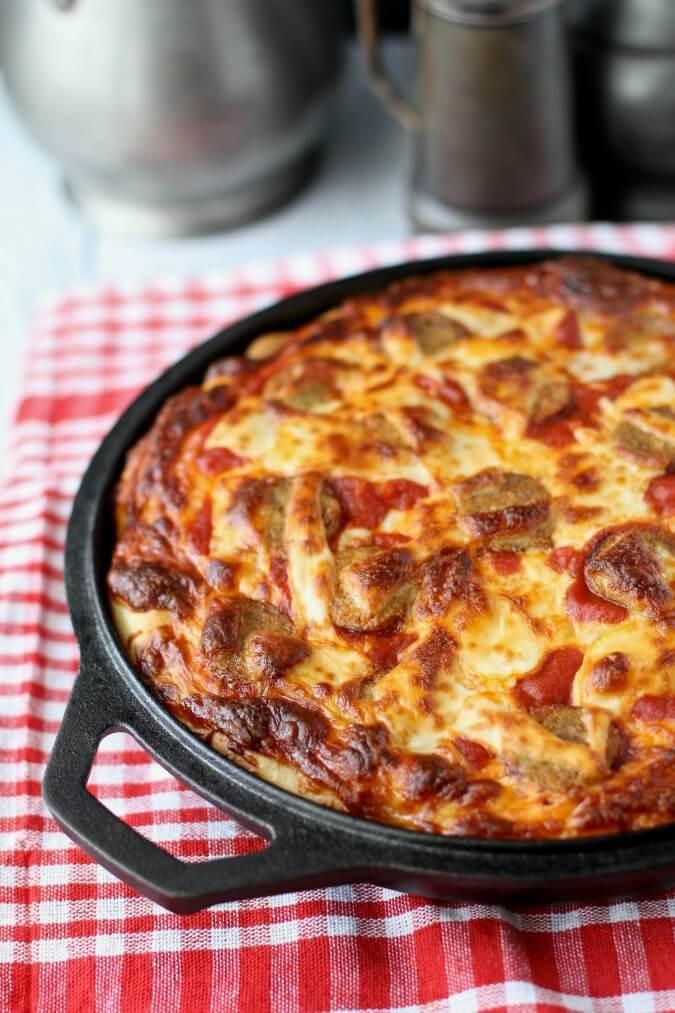 Crispy Pan Pizza with Turkey Sausage