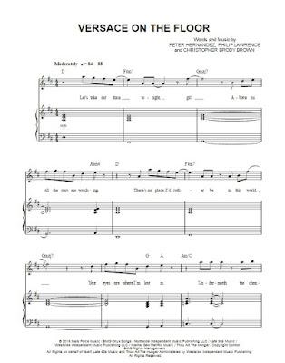 Not piano lagu Versace On The Floor,not angka versace on the floor,not angka pianika versace on the floor