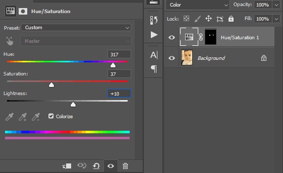 cara menggunakan Hue/Saturation untuk ubah warna mata di Photoshop
