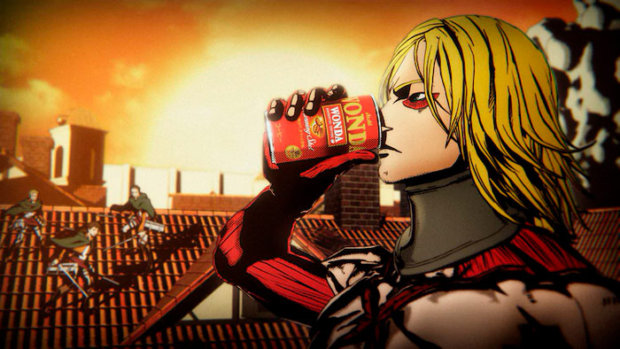 Yoshiki (X-Japan) x Ataque a los titanes (Shingeki no Kyojin) - Shingeki no Yoshiki - anuncio Wonda Coffee (Asahi)