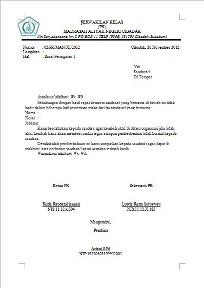 Surat Teguran Kepala Desa Kepada Perangkat Desa Kumpulan