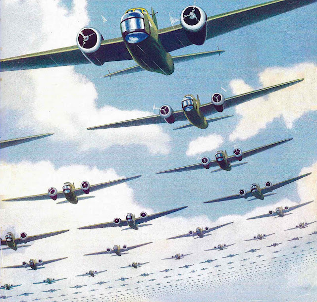 1938 war planes procession in the sky, a color illustration