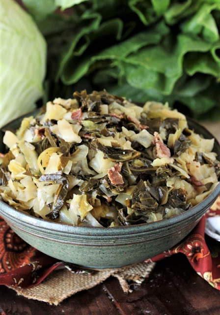 Bowl of Collard Greens with Cabbage Image